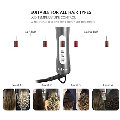 HISOON Professional Curling Iron Brush, 1.25 inch Automatic Curling Iron 2 in 1 Dual Voltage Ceramic Tourmaline Hair Curler Hot Brush, Anti-Scald Instant Heat Up Curling Wands Black by HISOON (Image #5)