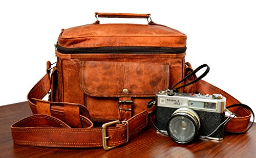 NICK & NICHE Premium Handmade crafted Vintage Style Genuine Leather Camera DSLR Padded Digital Camera Bag for Sony Nikon Cannon with Lens Partition 11L x 9H x 6W inches