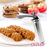Kitchen Biscuit Cookie Making Nozzles, ixaer Cookie Press Machine Maker Pump Cake Decor Set With 20 Moulds & 4 Nozzles Cookie moulds