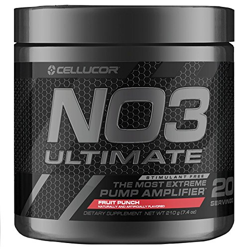 Amplifier Muscle Pump (Cellucor NO3 Ultimate Nitric Oxide Supplement, Premier Nitric Oxide Booster & Pump Amplifier for Muscle Growth, Fruit Punch, 20 Servings)