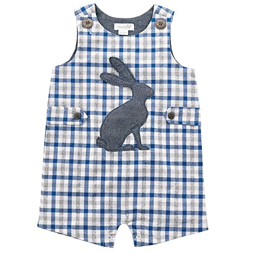 Baby Boy Gingham (Mud Pie Baby Boys Easter Gingham Sleeveless One Piece Shortall, Blue, 3-6 Months)