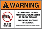"""Accuform Signs MGS113 Magnetic Vinyl Refrigerator Sign, Legend """"WARNING DO NOT UNPLUG THE REFRIGERATOR/FREEZER OR BREAK CIRCUIT - EXPENSIVE VACCINE IN STORAGE"""" with Graphic, 7"""" Length x 10"""" Width x 0.034"""" Thickness, Orange/Black/Red on White"""