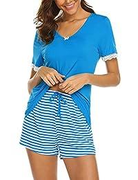 Ekouaer Womens V Neck Pajama Set Striped Short Sleeve Sleepwear Pjs Sets