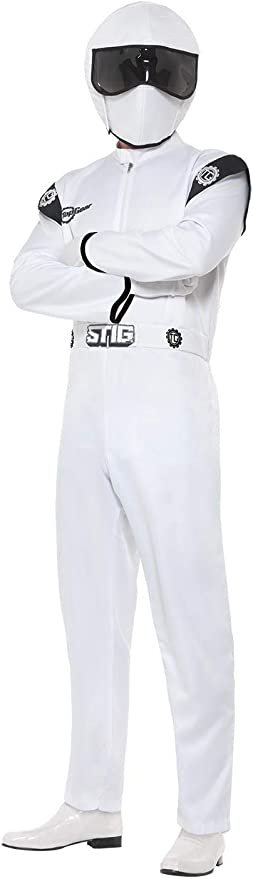 Mens The Stig Top Gear Costume Adults Stag Racing Car Driver Fancy Dress Outfit