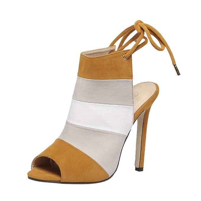 ea22eb5a Kinlene Sandalias Zapatillas Zapatos de tacón Zapatos de tacón Alto  robustos con Cordones Romanos para Mujer Sexy de Verano Sandalias con Boca  de Pescado: ...