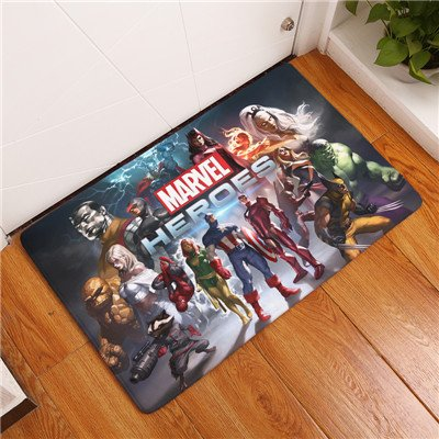 15 X 23 Inch Red Captain America Bathroom Mat, Blue Iron Man Bathroom Rug Superhero Hulk Characters Themed Bathroom Mat Superheroes Wolverine The Thing Greene Yellow Multicolored, Pvc