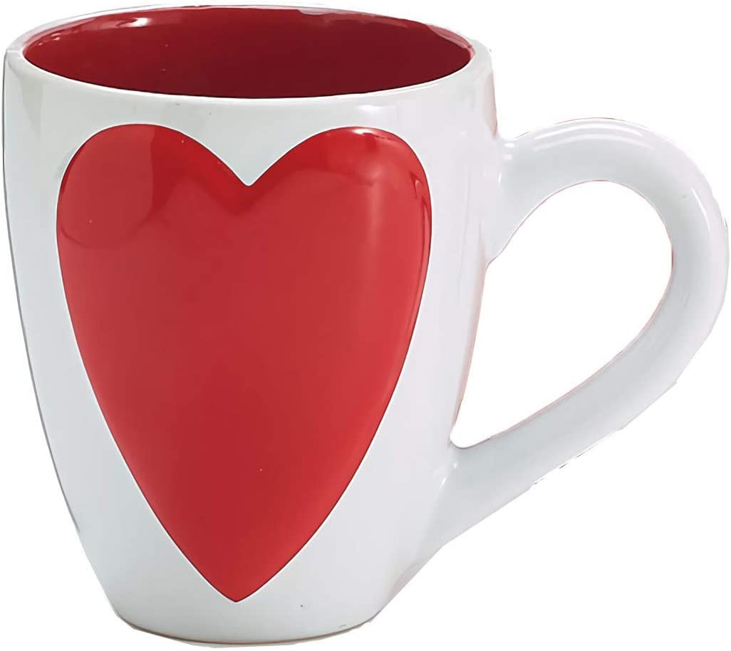 Valentines Day Matching Couples Mug Set with Raised Heart 15 ounce Coffee Cups, Pack of 2