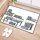 """Modern,Bath Mat,Recording Studio with Music Devices Turntable Records Speakers Digital Illustration,Door Mats for Inside,Cadet Blue 16""""x24"""""""