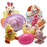 Jumbo 6'' Easter Eggs Filled with Plush Easter Bunny's Ducks and Hamsters (pack of 3 Jumbo Eggs Per Order)