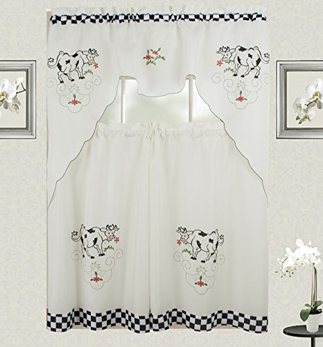 Cow Kitchen Curtain with Swag and Tier Set 36 inch with C...