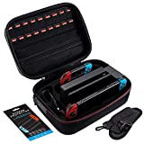 Carrying Case for Nintendo Switch, JUGAADLIFE Nintendo Switch Accessories Case, Fits Switch Console and Switch Pro Controller, Deluxe Hard Shell Storage Case for Switch Console (Black)