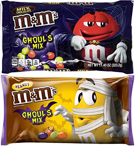 (M&M Ghouls Mix Halloween Candy Assortment Variety - Spooky Colors Milk Chocolate and Peanut MMs - Fun Seasonal MM Candies (2 Bags Total) - 11.4)