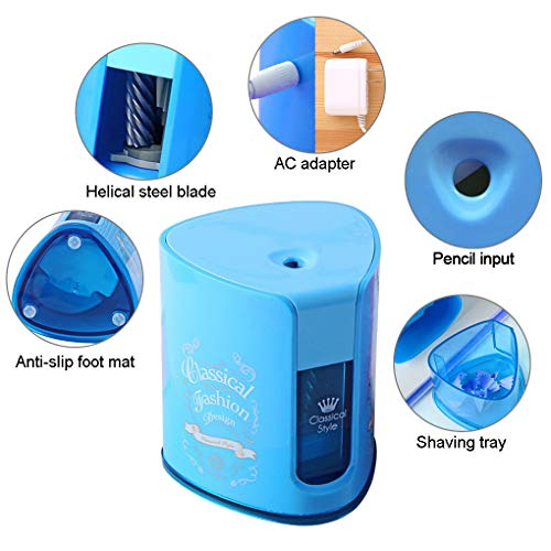 Electric Pencil Sharpener with Heavy Duty Helical Steel Blade for Office School Home by iMustech (Blue) by iMustech (Image #1)