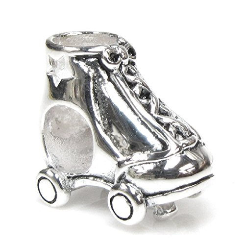 Queenberry Sterling Silver Star Roller Skate European Style Bead Charm