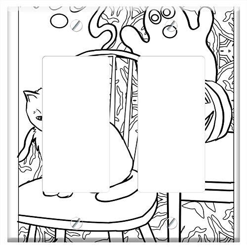 Switch Plate Double Rocker/GFCI - Cat Ghost Pumpkin