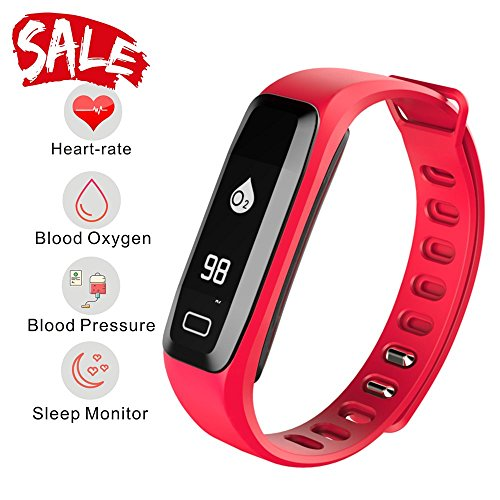 Monitor Pro Watch Rate Heart (READ Smart Watch, Fitness Tracker, R6.PRO Heart Rate Monitor Blood Pressure Bracelet Pedometer Activity Tracker Sleep Monitoring Call SMS SNS Remind Watch for Android IOS (red))