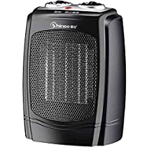 GUO@ Black Household Shaking Head Ceramic Heating Heater Office Mini Heater Automatic Temperature Control Over-Heat Protection,Tilt-Protection 1200W/1800W Space Heaters