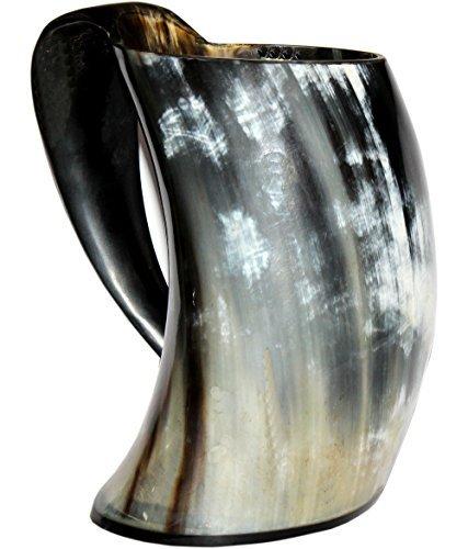 Vikings Valhalla's Viking Cup Drinking Horn Tankard Authentic Medieval Inspired drinking Mug (20oz)