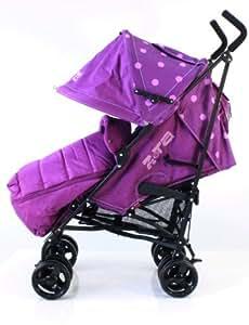 ZETA VOOOM - Silla de paseo con cubierta impermeable y saco de cremallera acolchado, color lila.