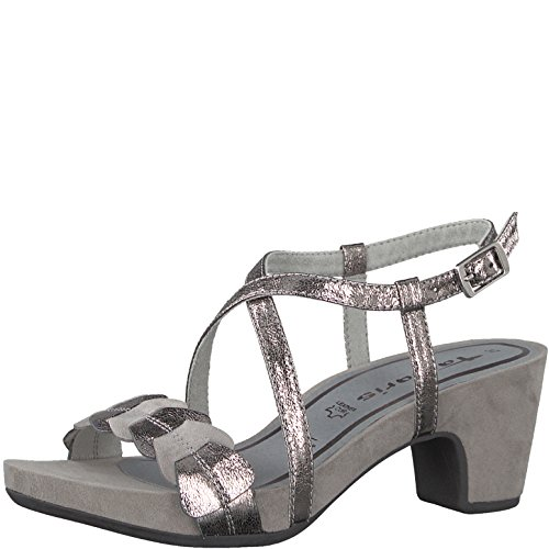 Ladies Cloud 20 Metallic 220 Grau 1 Sandals Pewter 28391 Gray Tamaris dHYaOqd