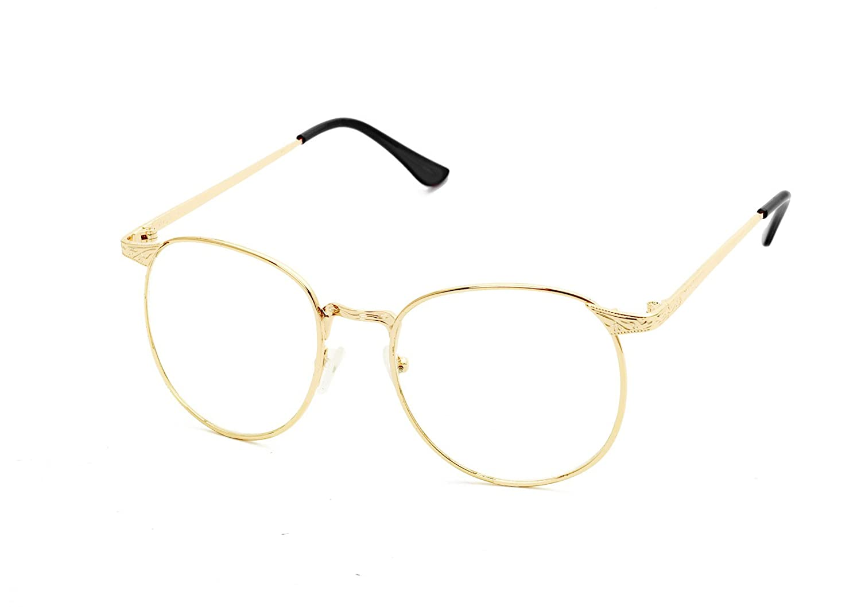 Flowertree S3115 Metal Frame Engraved Detail Side Round Eyeglasses (Gold+Black, 0)