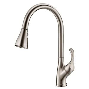 APPASO K123-BN Single Handle Stainless Steel Kitchen Faucet with 3-Function Pull Down Sprayer, High Arc Pull Out Spray Head Kitchen Sink Faucets Brushed Nickel with Deck Plate