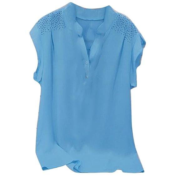 Overdose Blusa Ladies Hot Drill Ruffles Blusa De Manga Corta AlgodóN Stand Solid Pullover Tops Shirt