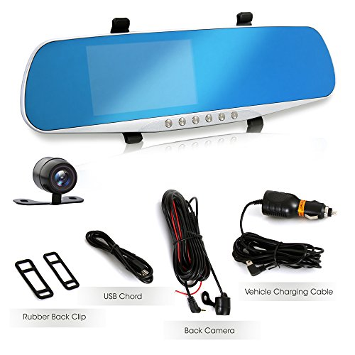 """Dash Cam Rearview Mirror Monitor - 4.3"""" DVR Rear View Dual Camera Video Recording System in Full HD 1080p w/Built in G-Sensor Motion Detect Parking Control Loop Record Support - Pyle PLCMDVR46 by Pyle (Image #1)"""