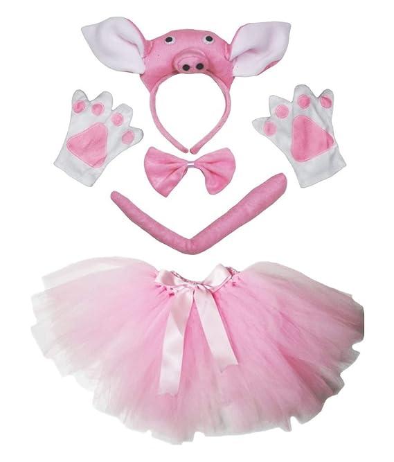 dbb4f413ad2a1 Petitebelle stéréo Pig Costume Bandeau Queue Gants Rose Tutu Ensemble de 5  pièces pour Lady - Rose - Taille unique  Amazon.fr  Vêtements et accessoires