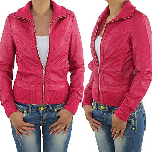 809all Chaqueta de piel sintética para mujer, biker rosa M