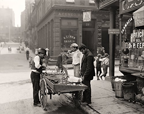 Clam Seller Mulberry Bend New York 1900 Early Rare Reproduction Vintage and Antique Art or Artwork Collection of Old Photos of Cities Like New York or New York City, Boston, Atlantic City, Chicago, Los Angeles, and Other Us Cities.some Colorized, Black and White, Photochromes Rare Pictures of Cities and Towns Across the Us a Old Time Photos to Digital Close to Original Size 8.5 Inches By 11 Inches for Scrap Booking Home Decor or Kitchen Decor. Or Gift Giving and History Research