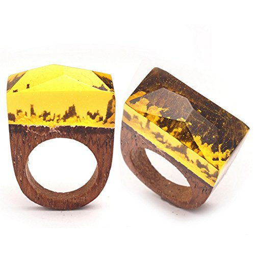 [PSRINGS Creative Snow Resin Wooden Rings Vintage Lover Handmade Ring Costume 8.0] (Ninja Turtle Nose Costume)
