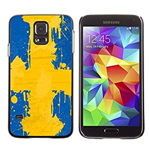 - Sweden flag - - Monedero pared Design Premium cuero del tir¨®n magn¨¦tico delgado del caso de la cubierta pata de ca FOR Samsung Galaxy S5 I9600 G9009 G9008V Funny House