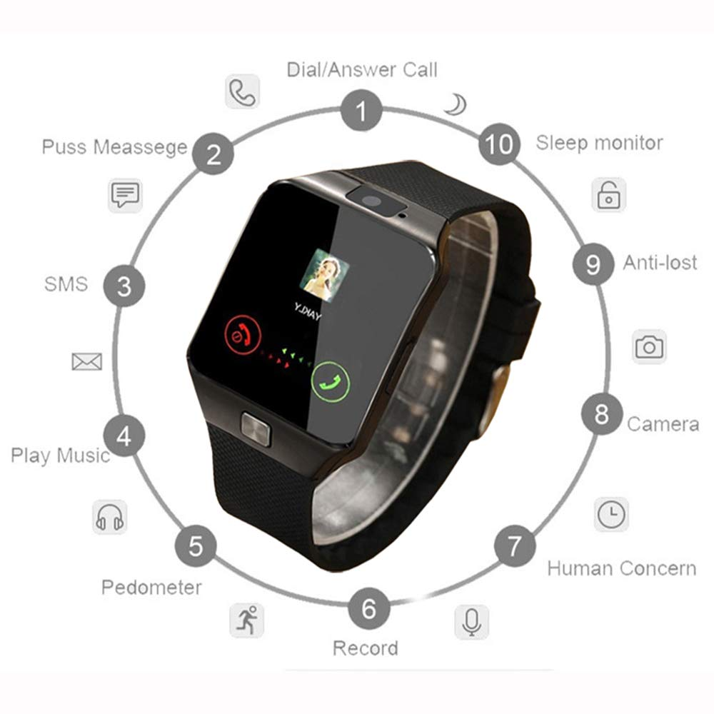 Amazon.com: Smart Watch DZ09 Support TF SIM Card,Bluetooth Smartwatch for Smart Phone (Only Watch): Cell Phones & Accessories