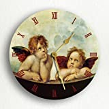 Raphael's Sistine Madonna Daydreaming Angels Cherubs 12″ Silent Wall Clock Review