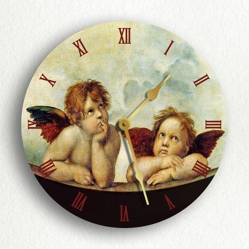 Raphael's Sistine Madonna Daydreaming Angels Cherubs 12″ Silent Wall Clock Review