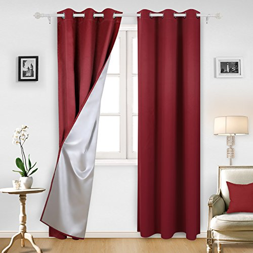 Deconovo Red Thermal Insulated Blackout Curtains with Silver Coating Blackout Panels for Kitchen 42W x 95L Inch Red 2 - Red Silver Black
