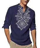 COOFANDY Men's Henley Shirt Long Sleeve Floral Print Casual Zip Up Cotton Beach Party Hippie T Shirt Blue