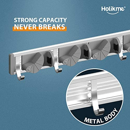 51oZDX 6pkL. AC Holikme Mop Broom Holder Wall Mount Metal Pantry Organization and Storage Garden Kitchen Tool Organizer Wall Hanger for Home Goods (4 Positions with 4 Hooks, Silver)    Product Description