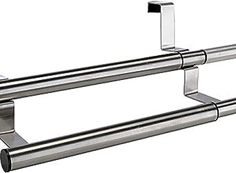 Edelstahl 2Stangen aufhängen Schrank Tür Handtuchhalter Küche ausziehbar 25-40cm