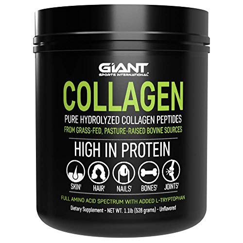 Collagen Peptide Powder - Hydrolyzed Complete All Essential Amino Acids with L-Tryptophan, Grass Fed Pasture Raised Type 1 Type 3-1 LB