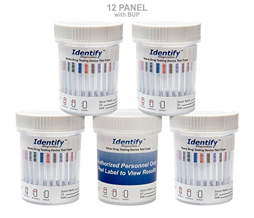 5 Pack Identify Diagnostics 12 Panel Drug Test Cup with BUP Testing Instantly for 12 Different Drugs: (THC), (COC), (OXY), (MDMA), (BUP), (MOP), (AMP), (BAR), (BZO), (MET), (MTD), (PCP) #ID-CP12-BUP