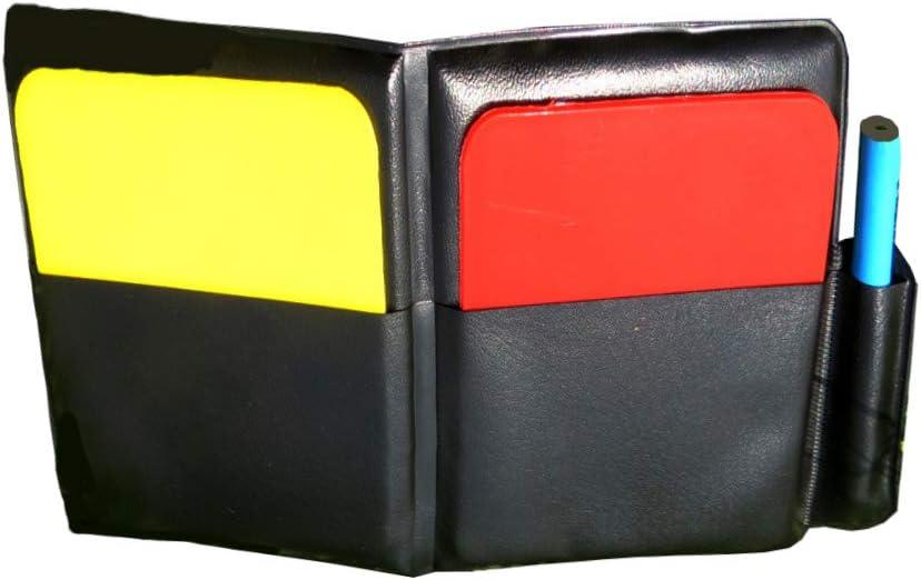 LIOOBO Tarjeta roja Conjunto de Tarjetas Amarillas Conjunto de Tarjetas de árbitros Árbitro de fútbol Bandera Moneda Lateral Juez de Moneda Juego de Cartas volteado