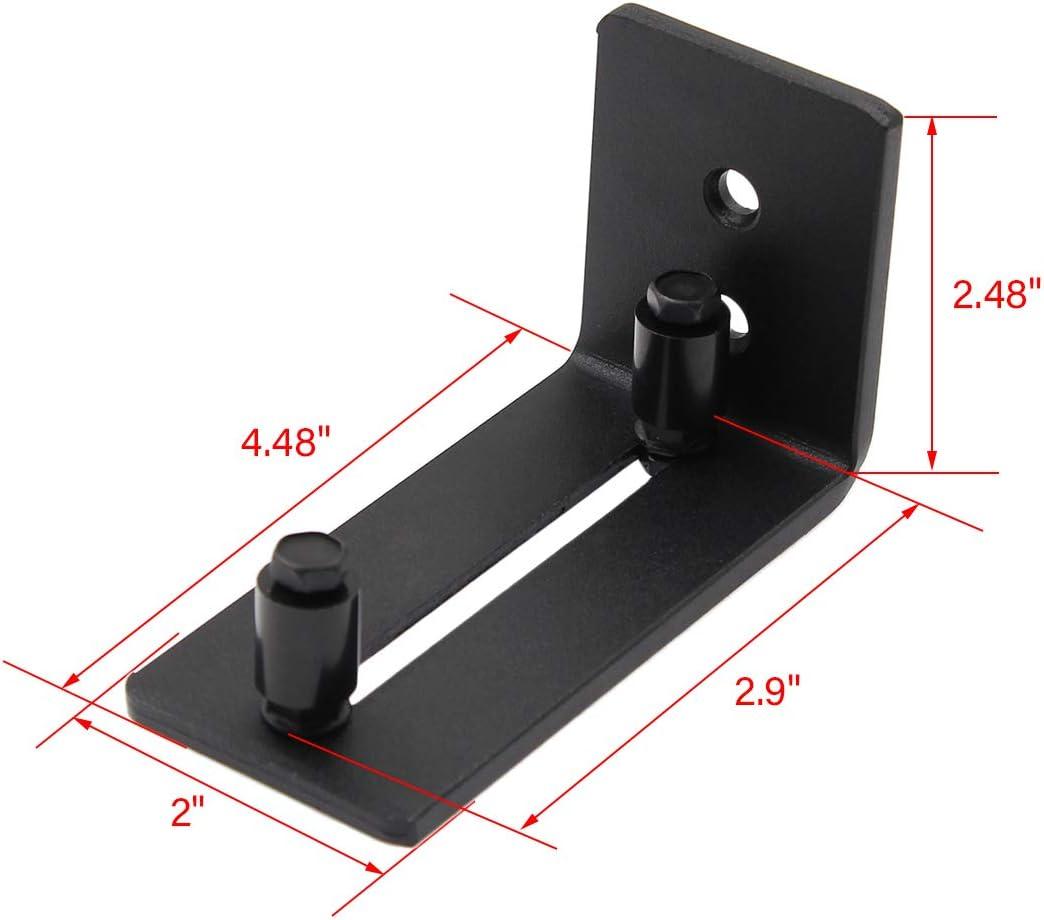 Pack of 2, Black Kmitmuk Sliding Barn Door Floor Guide Bottom Adjustable Roller Wall Mount System Flush Bottom Design