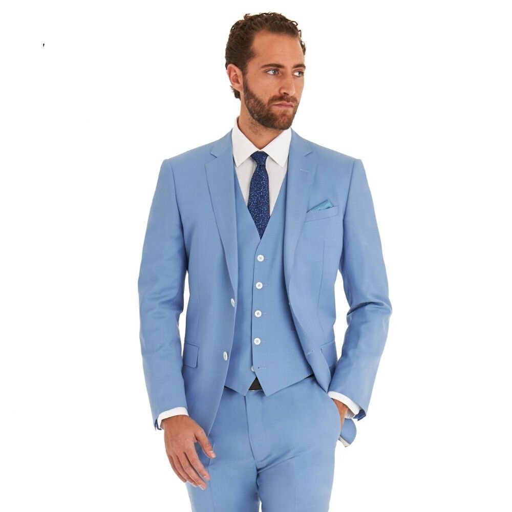 RA Meeshi Sky Blue Regular Fit Suit for Men Amazon.in