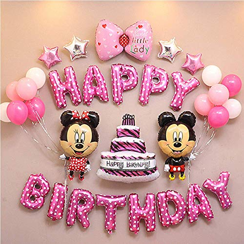 CuteTrees mickey mouse and minnie mouse pink Theme 1st 2nd 3rd 4th 5th 6th 7th 8th 9th birthday party cake bowknot Foil balloons and latex balloons party supplies party decoration birthday decorations 33 pcs -