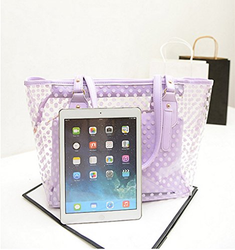 Transparent Pvc Small Dot Beach Cosmetic Jelly Girl colored Blue Fashion Drasawee Purple Bag Shoulder Candy With qywpI4w7cT