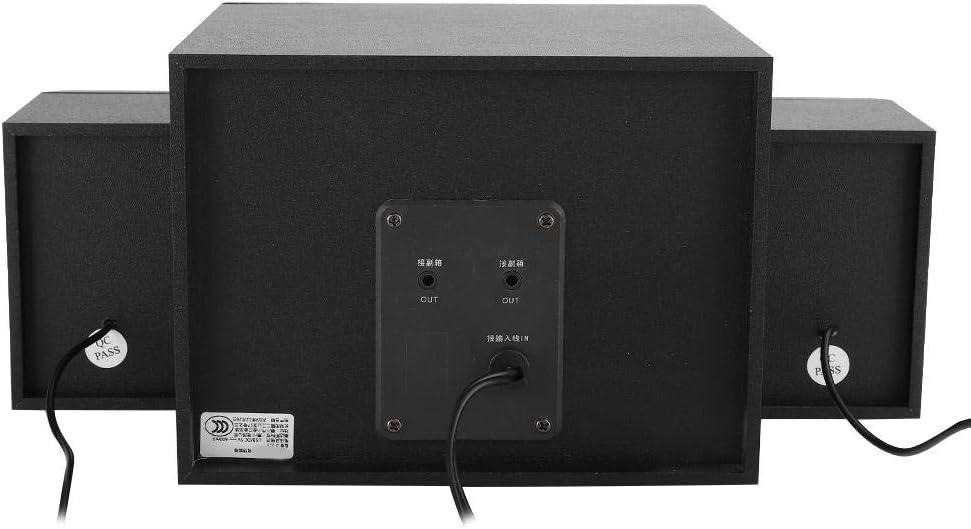 Subwoofer Altavoz para computadora con conector de audio de 3.5 mm con 7 luces de respiraci/ón coloridas para computadora port/átil de escritor cavidad de madera subwoofer est/éreo alta sensibilidad