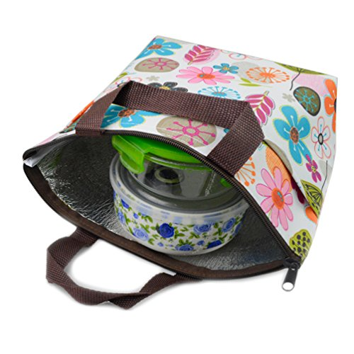 Dxhycc Waterproof Picnic Lunch Bag Lunch Box Tote Insulated Cooler Travel Zipper Organizer Box, flower