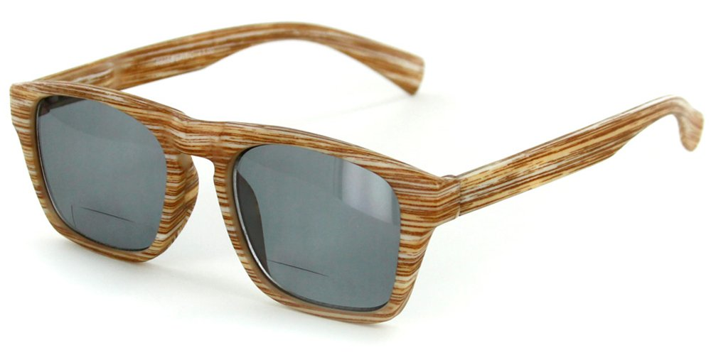 ''Rickshaw'' Bifocal Reading Wayfarer Sunglasses with Faux Wood Finish for Stylish Men and Women (Natural +2.00)
